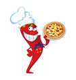 Pepper cook with pizza vector
