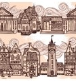 Sketch city seamless border black and white vector
