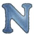 Jeans alphabet denim letter n vector