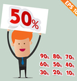 Business man show sale percent sticker tag - vector