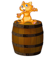 A wooden barrel with a cat vector