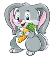 Cute bunny with carrot on a white background vector