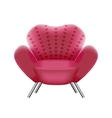 Pink armchair on white background vector