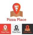 Flat pizza restaurant or delivery logo set vector