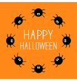 Cute cartoon spider round frame halloween card vector