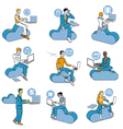 Cloud computing blue men set vector