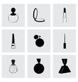 Black cosmetics icons set vector