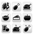 Thanksgiving day food buttons set - turkey pumpki vector