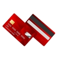 Credit card red two sides vector