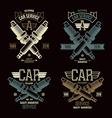 Car service spark plug emblems vector