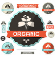 Organic flat design retro labels on white vector
