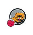 Grizzly bear angry head basketball cartoon vector