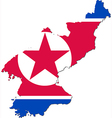 Map of north korea with national flag vector