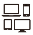 Laptop mobile phone tablet and monitor icon set vector