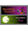 Halloween monsters happy party web banners set vector