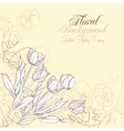 Floral background with pansies and tulips vector