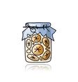 Jar with orange jam sketch for your design vector