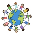 Children of different races holding for hands vector