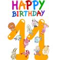 Eleventh birthday anniversary card vector