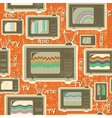 Tv retro seamless patternvintage background on old vector