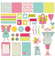 Design elements - baby birthday party set vector