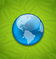 Planet earth on green leaves texture vector