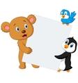 Wild animal cartoon with blank sign vector