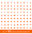 Set of 90 orange icons for web and mobile devices vector
