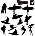 Surfer silhouettes collection vector