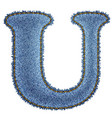 Jeans alphabet denim letter u vector