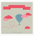 Retro card with aerostat flying in the clouds vector