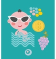 Cool baby on vacation set vector