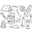 Camping set - sketch vector