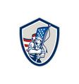American soldier waving stars stripes flag shield vector