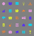 Data and information color icons on gray vector