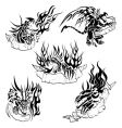 Tribal dragons with labels vector