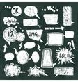 Bubble speech icons set chalkboard vector