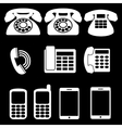 White phone icons vector