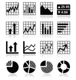 Stock market analysis chart and graph icons set vector