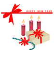 New year card with candle and gift boxes vector