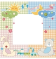 Baby frame or card with rabbit and bear vector
