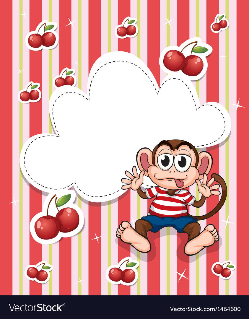 A stationery with cherries and a playful monkey vector | Price: 1 Credit (USD $1)