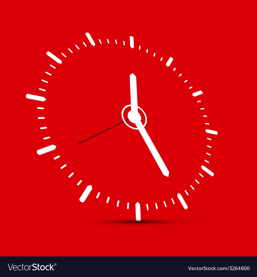 Abstract clock on red background vector | Price: 1 Credit (USD $1)