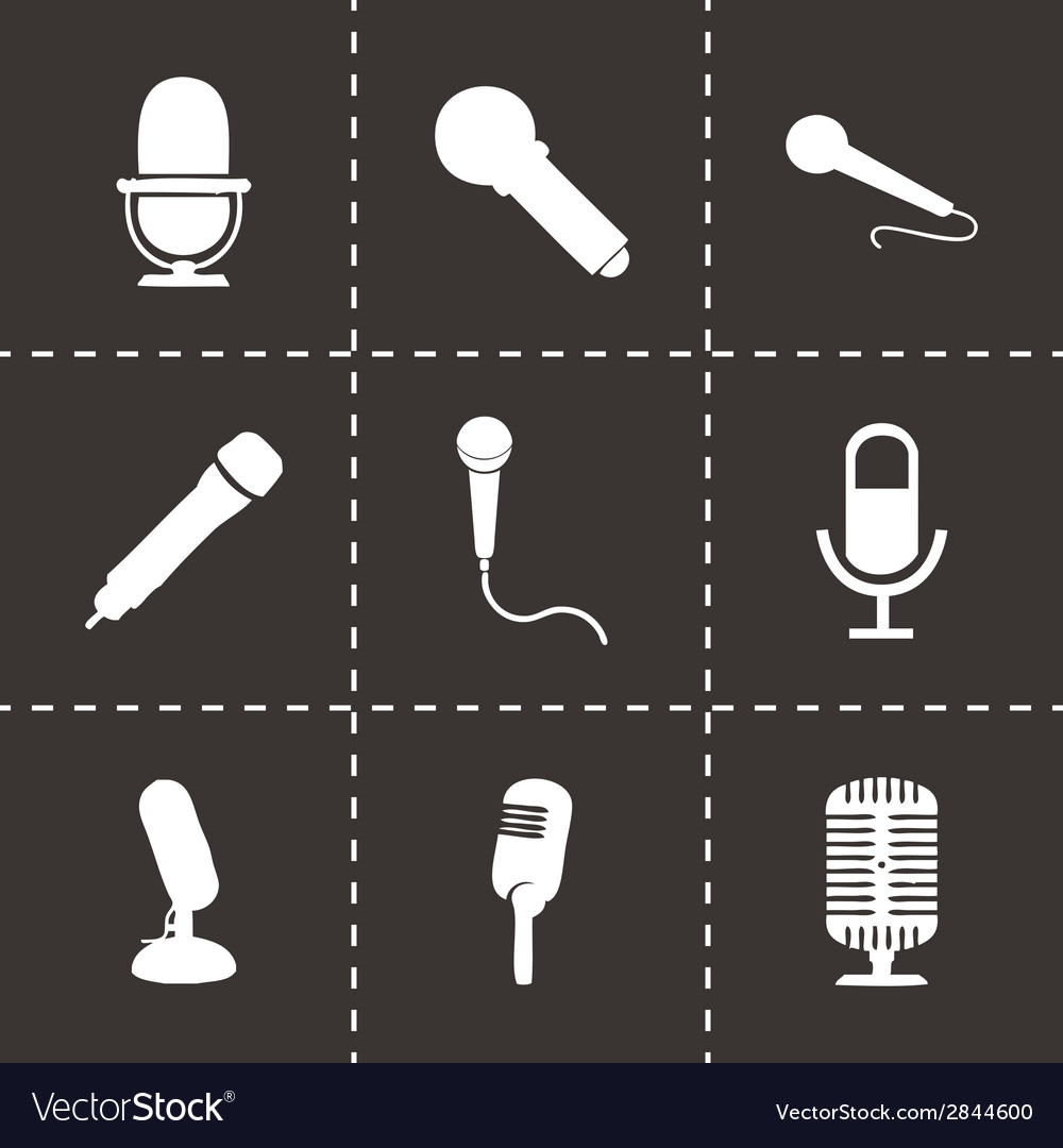 Black microphone icons set vector | Price: 1 Credit (USD $1)