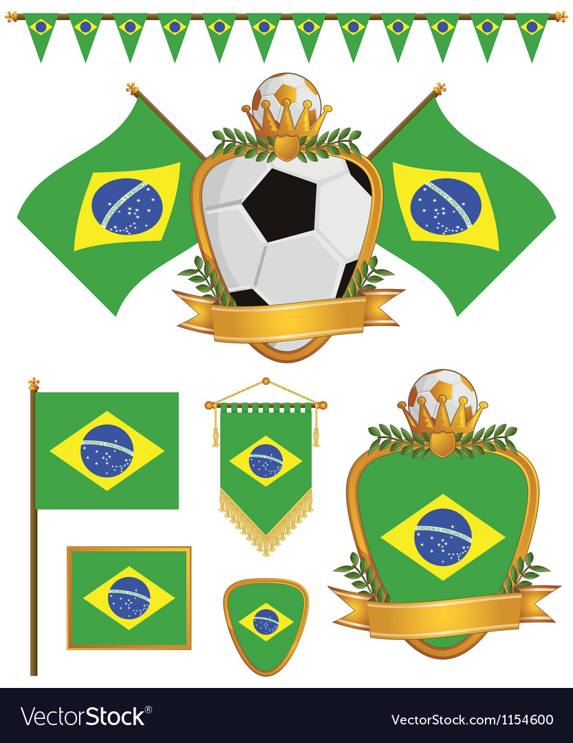 Brazil flags vector | Price: 1 Credit (USD $1)