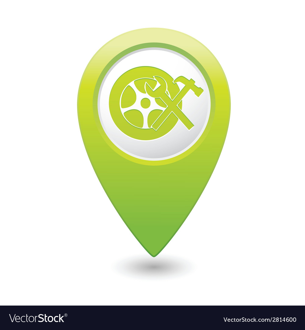 Car wheel service icon on green map pointer vector | Price: 1 Credit (USD $1)