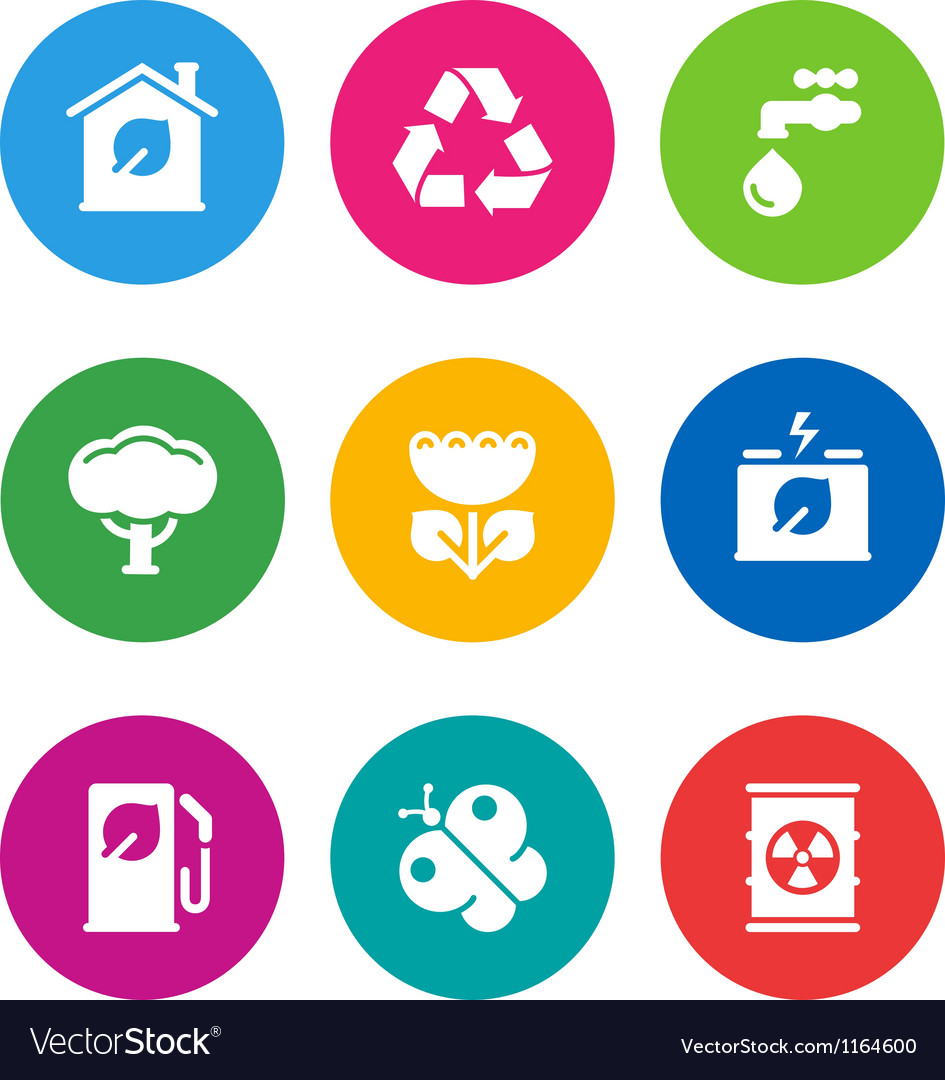 Color environmental icons vector | Price: 1 Credit (USD $1)