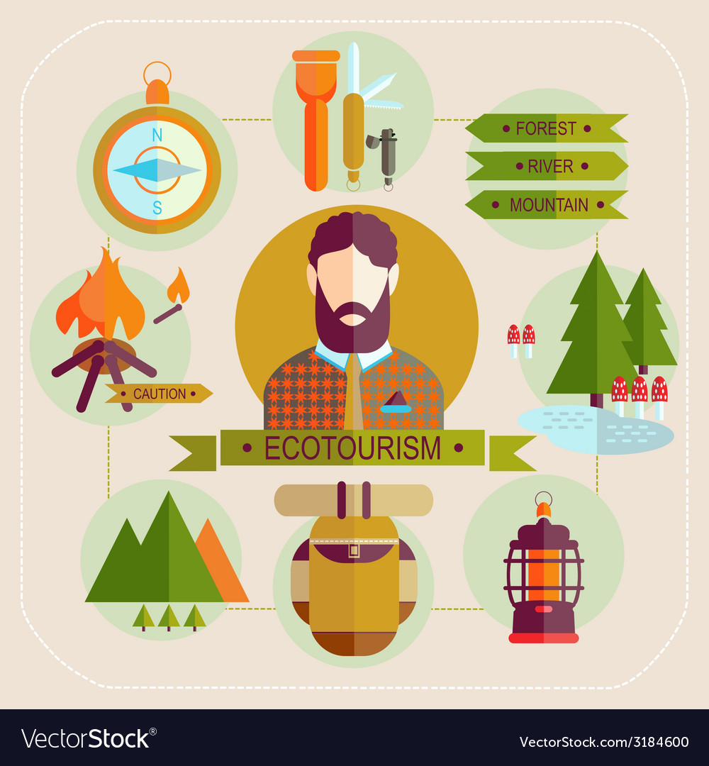 Ecotourism man set flat icons vector | Price: 1 Credit (USD $1)