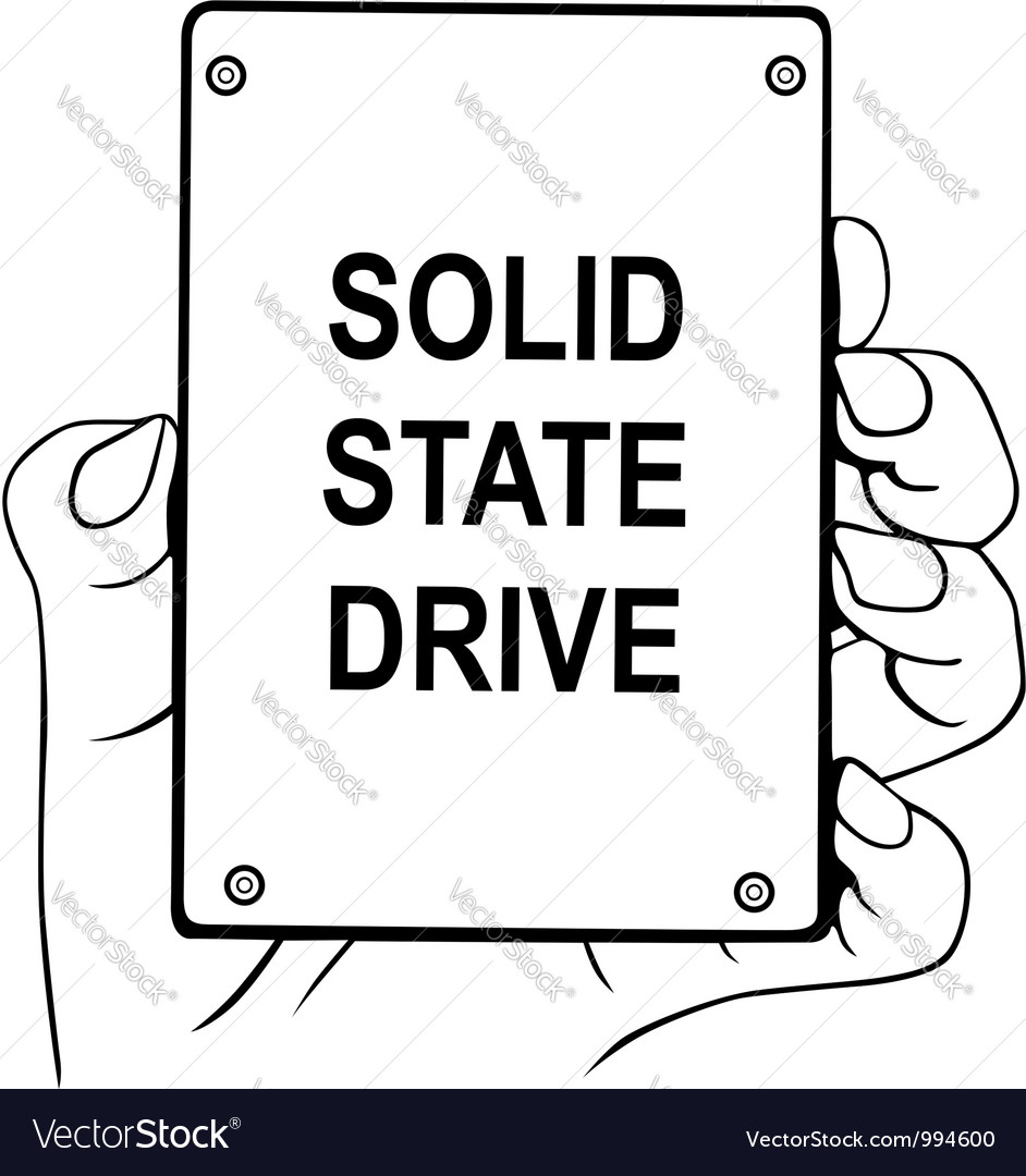 Hand holding solid state drive vector | Price: 1 Credit (USD $1)
