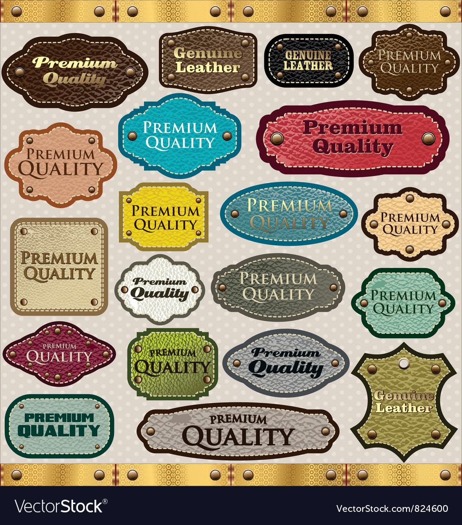 Leather premium quality labels vector | Price: 1 Credit (USD $1)